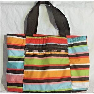 LeSportsac Rainbow Multi Color Stripe Tote Bag